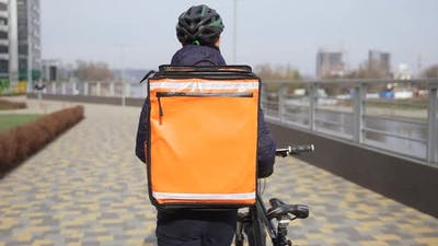 Food Courier with Thermal Backpack Carrying Bike