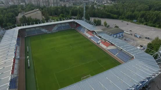 Aerial View of Football Stadium in Russian Town