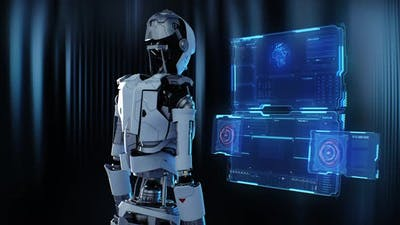 Robot Entering Code Into Futuristic Computer