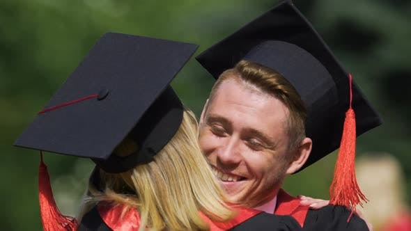 Thumbnail for Couple of Beautiful Graduates Smiling and Hugging, Enjoying Moment, Emotions