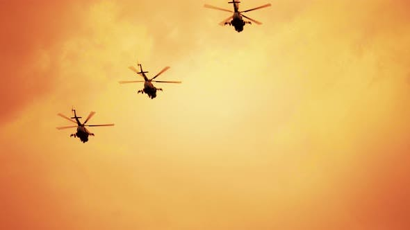 Group of Russian Combat Helicopters, Mi-24 Red Warm Sunset