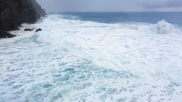 Thumbnail for Beautiful Coastal Waves Splash at the Coastline Cliffs of Hawaii. Aerial Footage