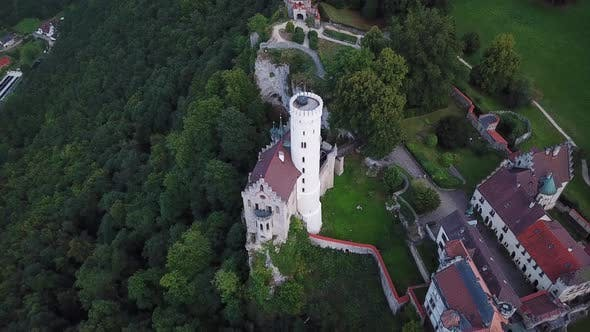 Thumbnail for Aerial View of Lichtenstein Castle in Cloudy Weather, Germany in the Summer