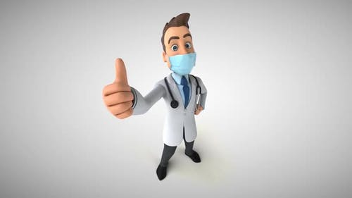 Cartoon doctor with a mask
