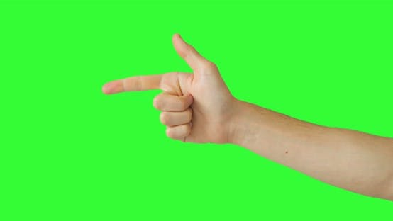 Isolated Man Hand Showing the Hey You Sign Symbol Pointing Something. Pack of Gestures