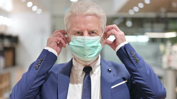 Thumbnail for Senior Old Businessman Wearing Protective Face Mask