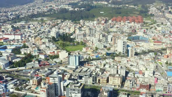 Aerial view over Quito, the capital of Ecuador in South America