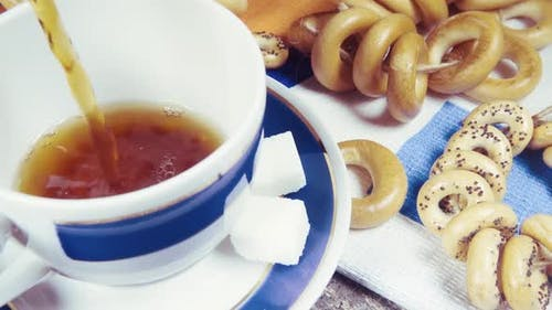Slow Motion Traditional Russian Tea Party with Pastries