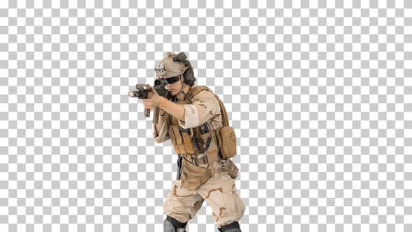 Soldier shooting with assault rifle and reloading, Alpha Channel