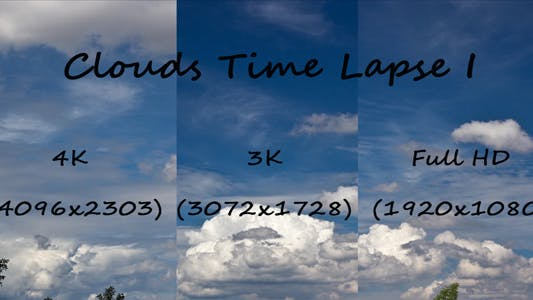 Thumbnail for Clouds Time Lapse 4K, 3K & 1080p Pack (3-packs)