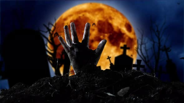 Thumbnail for Zombie Hand Coming Out of the Grave. Graveyard Background