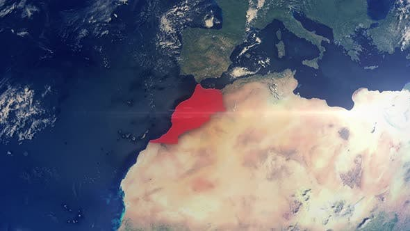 Realistic Earth Zoom Red Alert Highlight Country Morocco
