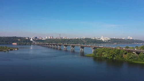 Cityscape in Kiev near the Paton Bridge