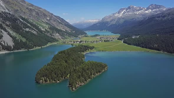 Aerial View of Engadin and Silvaplana, Switzerland