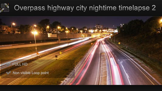Thumbnail for City Overpass on Highway Nightime 1