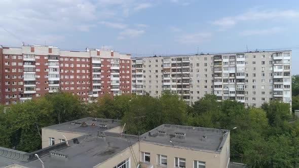 Aerial view of empty preschool building in city 17