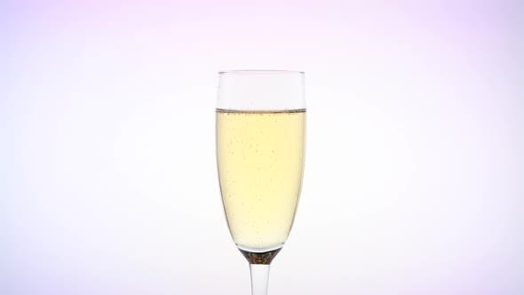 Thumbnail for Scarlet Rose Bud Inside Sparkling Champagne Glass. White Background