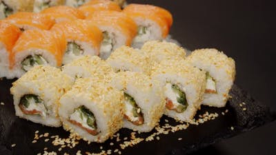 Large selection of delicious sushi. Japanese cuisine