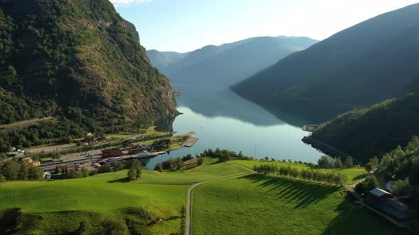 Thumbnail for Aurlandsfjord Town Of Flam at Dawn