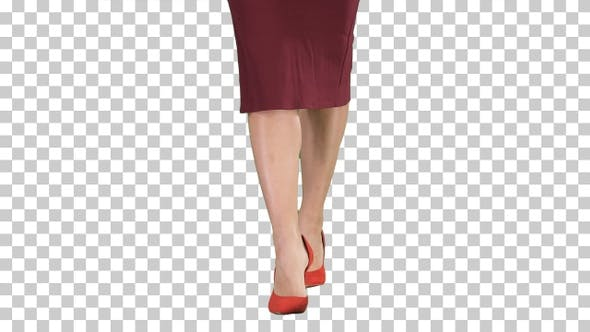 Thumbnail for Slim Legs of Woman Wearing High Heel Shoes Walking, Alpha Channel