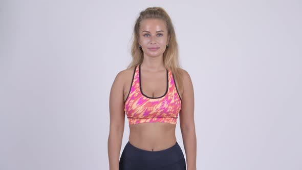 Thumbnail for Happy Young Beautiful Blonde Woman Smiling Ready for Gym