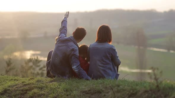 Happy family on picnic, young happy family with children