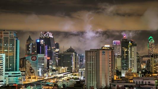 Thumbnail for Bangkok Skyline At Night Timelapse In HDR