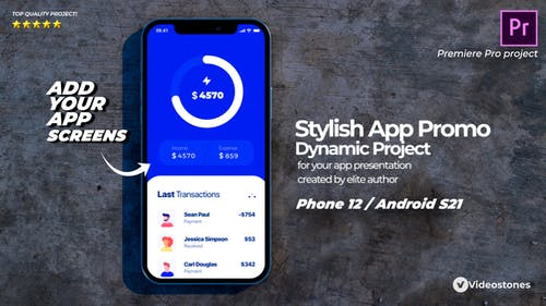 Stylish Mobile App Promo - App Demonstration Video - 3d Mobile Mockup Premiere Pro