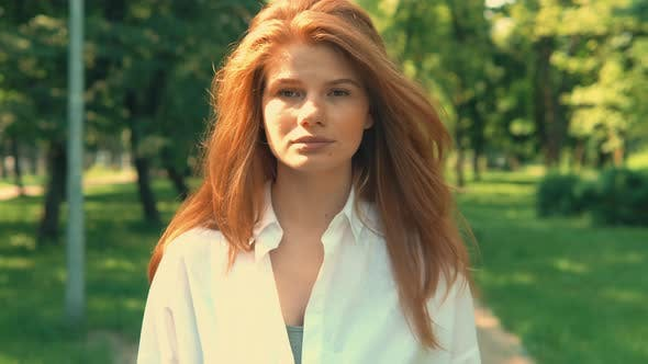 Thumbnail for Portrait Ginger Girl Walking Outdoors
