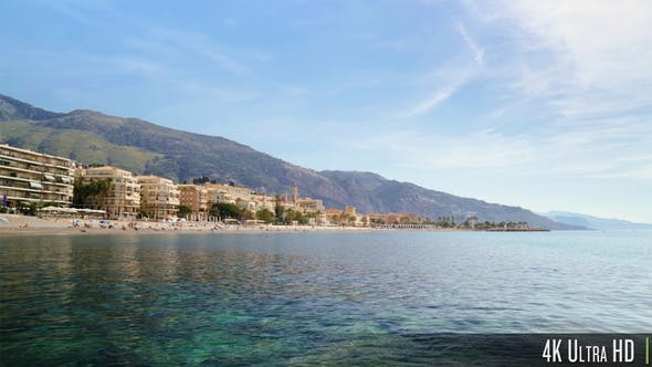 Thumbnail for French Riviera Shoreline on a Sunny Summer Day in Menton France