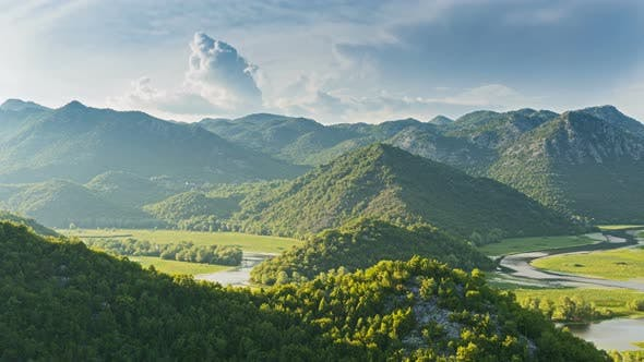 Thumbnail for Skadar Lake River Curved on Valley, Virpazar National Park, Montenegro