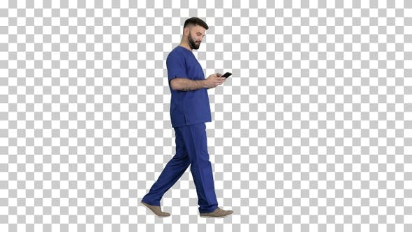 Thumbnail for Surgeon doctor walking and using his phone, Alpha Channel