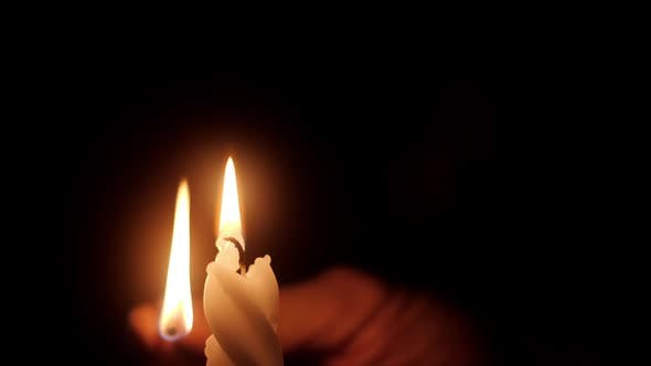 Lighting Candle with Match