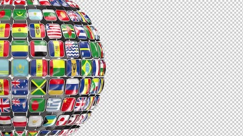 Globe Flags (Alpha Channel) Loopable