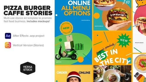 Vertical Caffe Pizza Burger Fast Food Stories