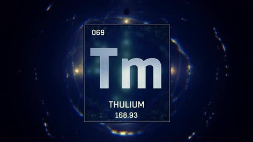 Thulium as Element 69 of the Periodic Table on Blue Background