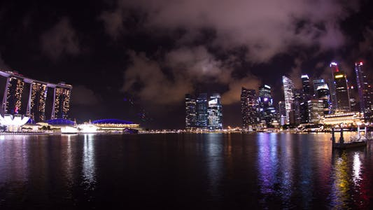 Thumbnail for Clouds Over Singapore Skyline Timelapse Fisheye
