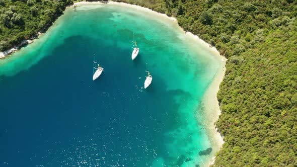 Thumbnail for Yachts in the Bay Near the Green Island. Summer Vacation, Greece, Kefalonia