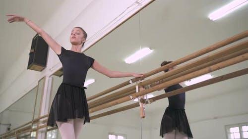 Ballerina practicing near a barre