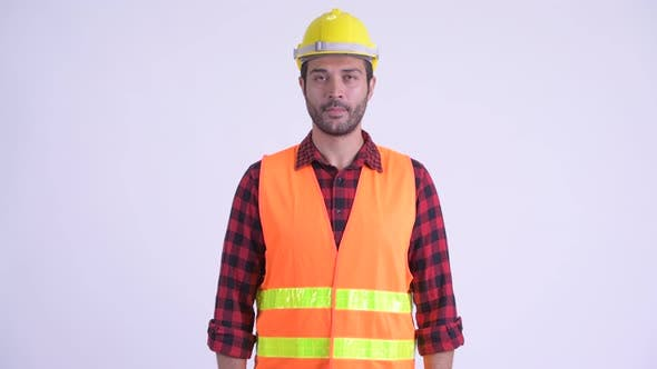Thumbnail for Happy Bearded Persian Man Construction Worker Smiling