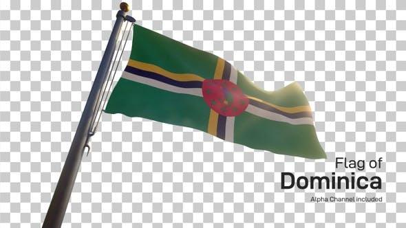 Thumbnail for Dominica Flagge auf einem Fahnenmast mit Alpha-Kanal