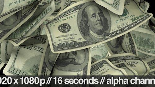 $100 Dollar Bills Flying Around Realistically