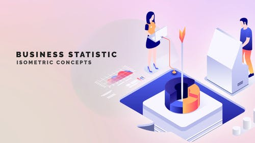 Business statistic - Isometric Concept