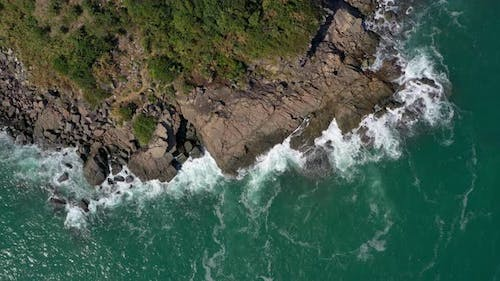 Drone fly over the seashore