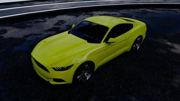 Thumbnail for Yellow Luxury Sports Car Top View