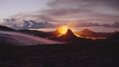 Picturesque View Of An Active Volcano