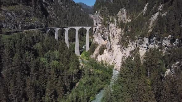 Aerial View of Landwasser Viaduct, Switzerland