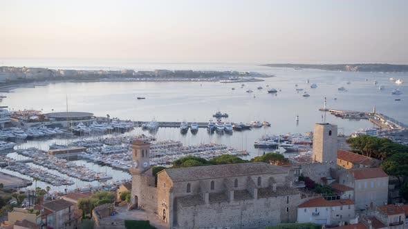 Thumbnail for Sunrise view of the Port of Cannes and the Castle Overlooking the Marina