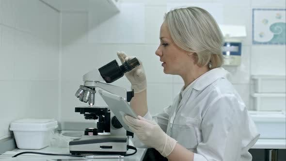 Thumbnail for Medical Doctor Using Microscope with Tablet PC at the Laboratory