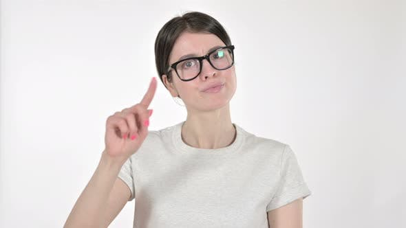 Thumbnail for Young Woman Saying No with Finger on White Background